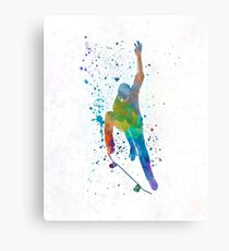 Man skateboard 04 in watercolor Canvas Print