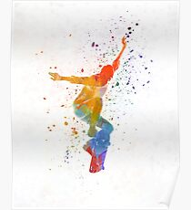 Man skateboard 05 in watercolor Poster