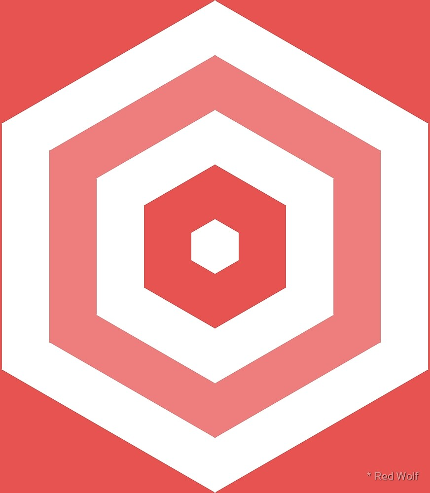 Geometric Pattern: Hexagon Hive: Light Negative: Red by * Red Wolf