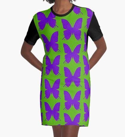 #DeepDream Purple Violet Butterfly Graphic T-Shirt Dress
