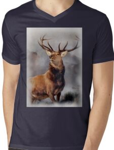 MONARCH OF THE GLEN, Digital Painting of this famous Stag Mens V-Neck T-Shirt