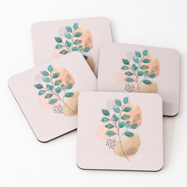 Botanical leaves with abstract background Coasters (Set of 4)