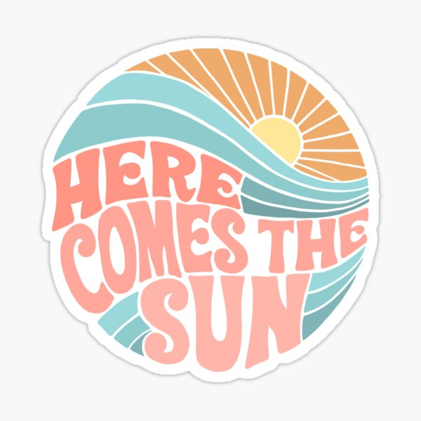 Pink Groovy Here Comes the Sun Sticker