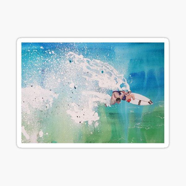 Riding The Waves Surfer Artwork Sticker
