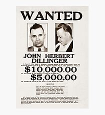 John Dillinger Wanted Poster Photographic Print