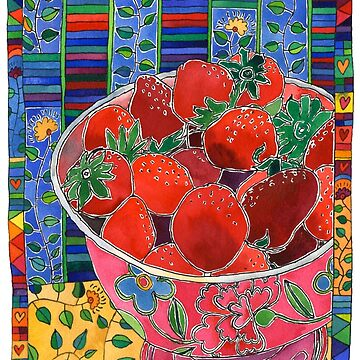 Pink Bowl and Red Strawberries by TangerineMeg