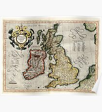 Vintage Map of The British Isles (1596) Poster