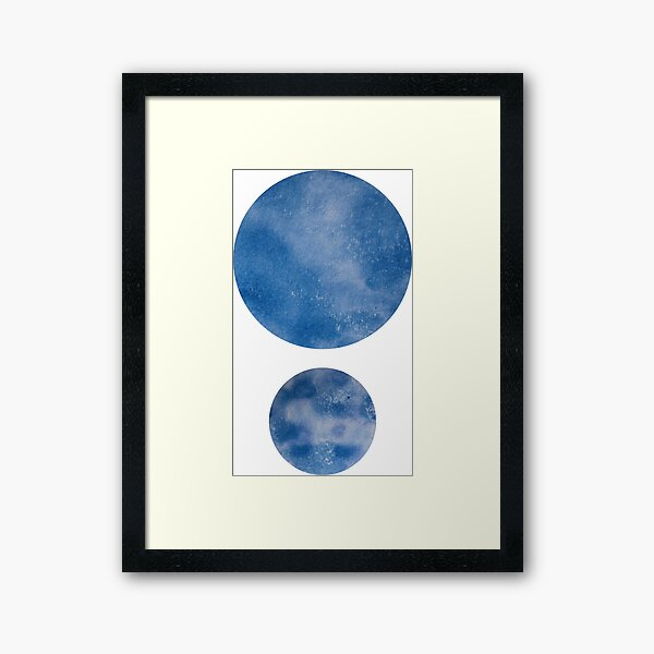 Minimalist Abstract Blue Dots Watercolour Painting. Framed Art Print