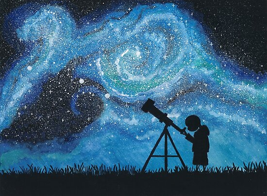 Observing the Universe ~ Watercolor Painting by Csilla Horváth