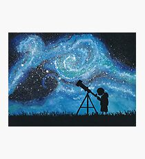 Observing the Universe ~ Watercolor Painting Photographic Print