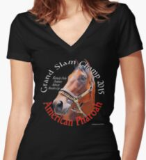 American Pharoah Grand Slam Champ Women's Fitted V-Neck T-Shirt