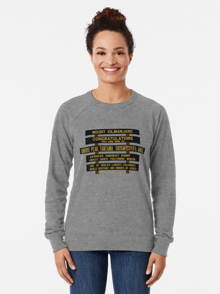 Alternate view of Mount Kilimanjaro, Uhuru Peak Sign, Tanzania Lightweight Sweatshirt