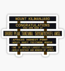 Mount Kilimanjaro, Uhuru Peak Sign, Tanzania Sticker