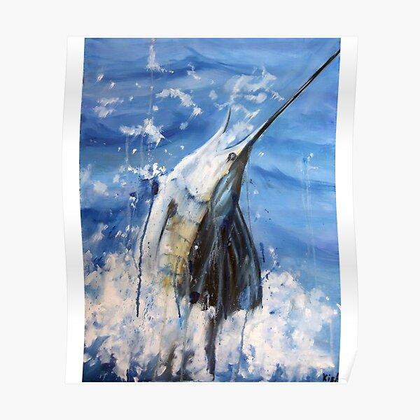 Blue Marlin real art drawing Poster