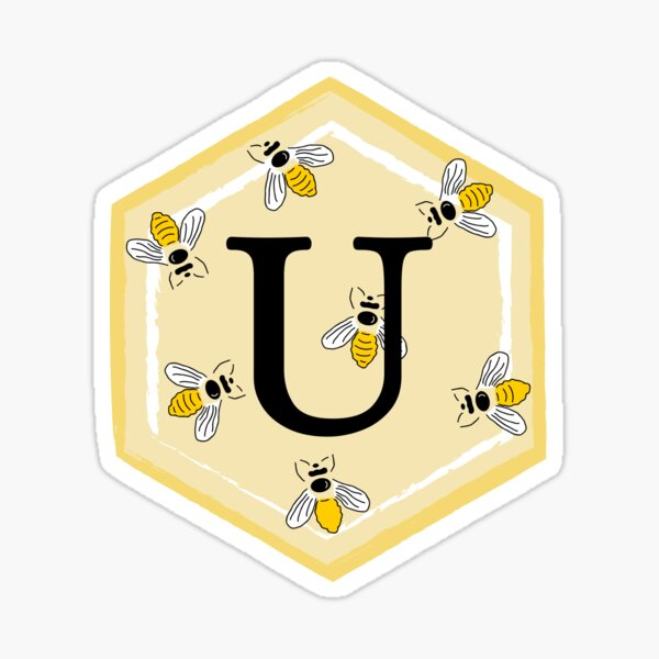Yellow hexagon with initial U and bees Sticker