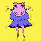 The dancing hippo doing the jiggle  by Vickie  Scarlett-Fisher