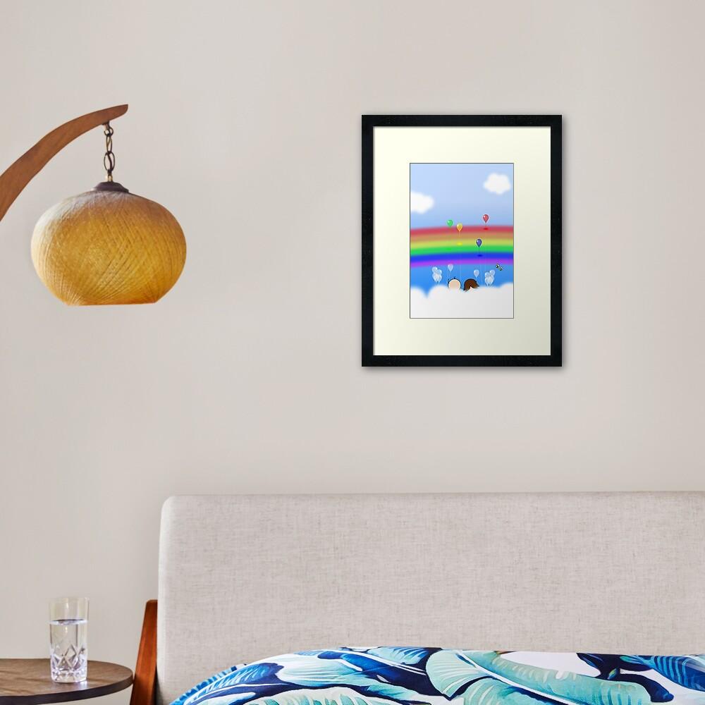 Rainbow Balloons - two lof bees Framed Art Print