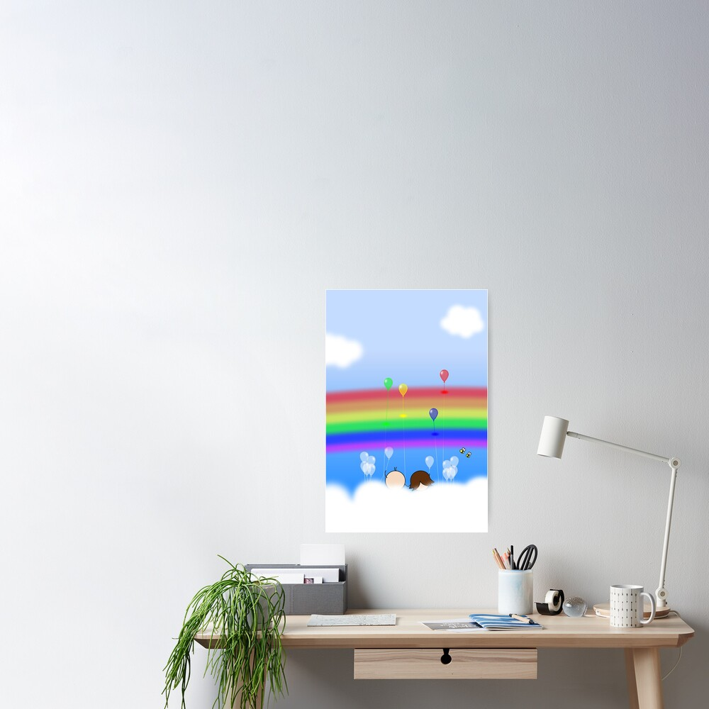 Rainbow Balloons - two lof bees Poster