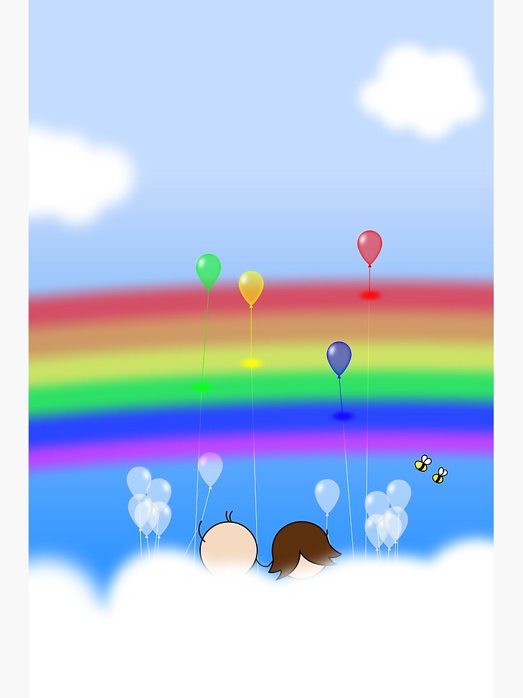 Rainbow Balloons - two lof bees by Cheeseness