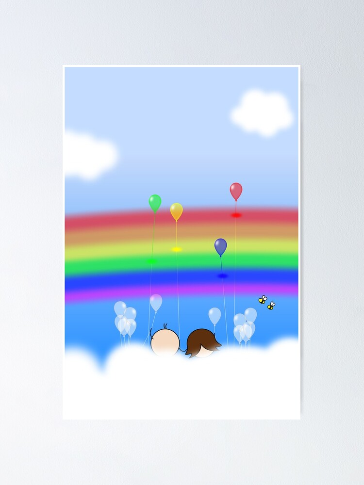 Alternate view of Rainbow Balloons - two lof bees Poster