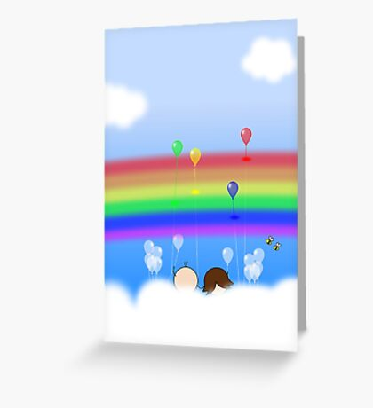 Rainbow Balloons - two lof bees Greeting Card