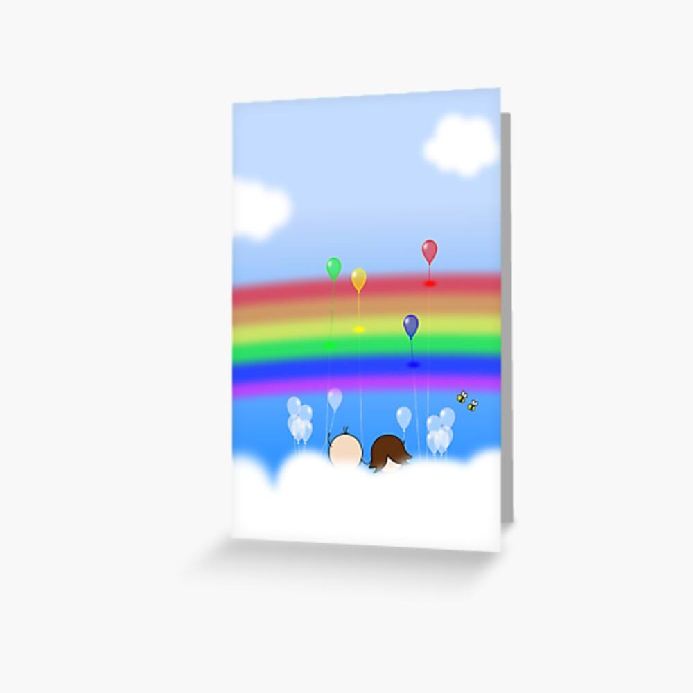 Rainbow Balloons - two lof bees Greeting Card