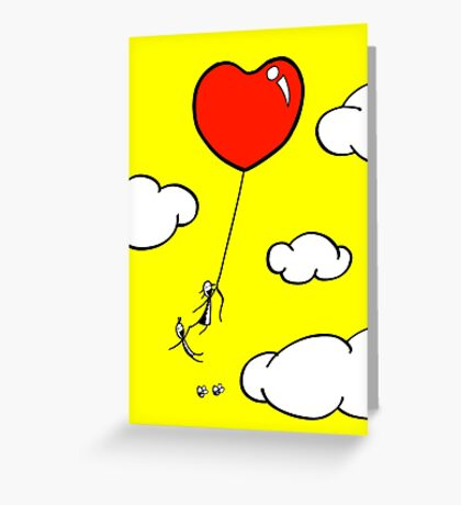 The Lof Balloon - two lof bees Greeting Card