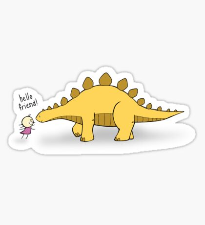 Hello Friend (Dinosaur) - two lof bees Sticker