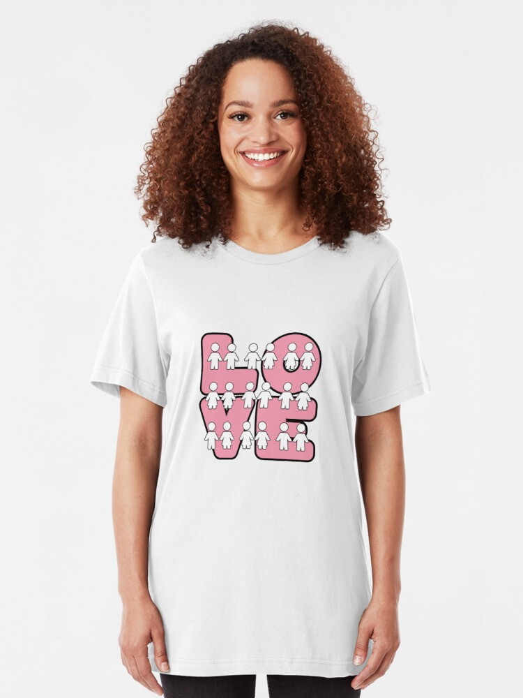 Alternate view of Four Letters (alternate design) - two lof bees Slim Fit T-Shirt