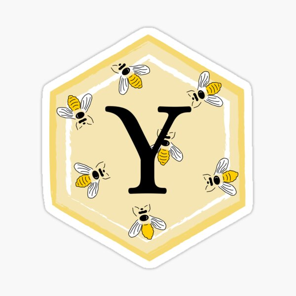 Yellow hexagon with initial Y and bees Sticker