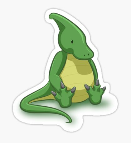 Little Parasaurolophus - two lof bees Sticker