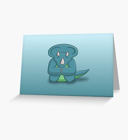 Little Triceratops - two lof bees Greeting Card