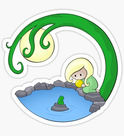 Girl At The Pond Sticker