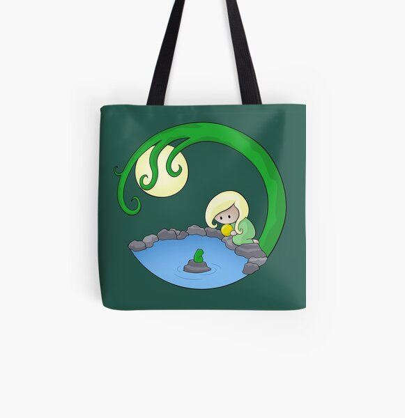 Girl At The Pond All Over Print Tote Bag