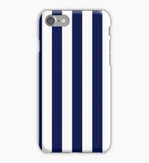 Classic Navy Blue and White Large Vertical Cabana Tent Stripe iPhone Case/Skin