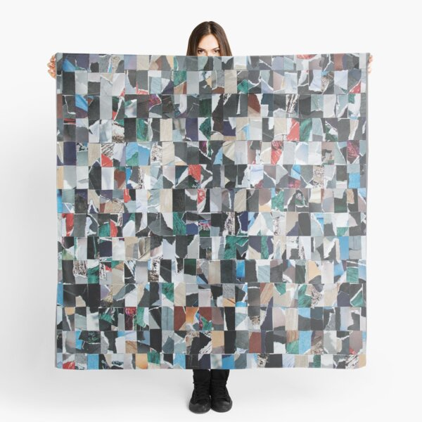 Abstract Geometric Collage of 560 Rectangles from Magazine Pages. Scarf