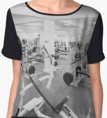 Black and White Weight Room Photograph Women's Chiffon Top