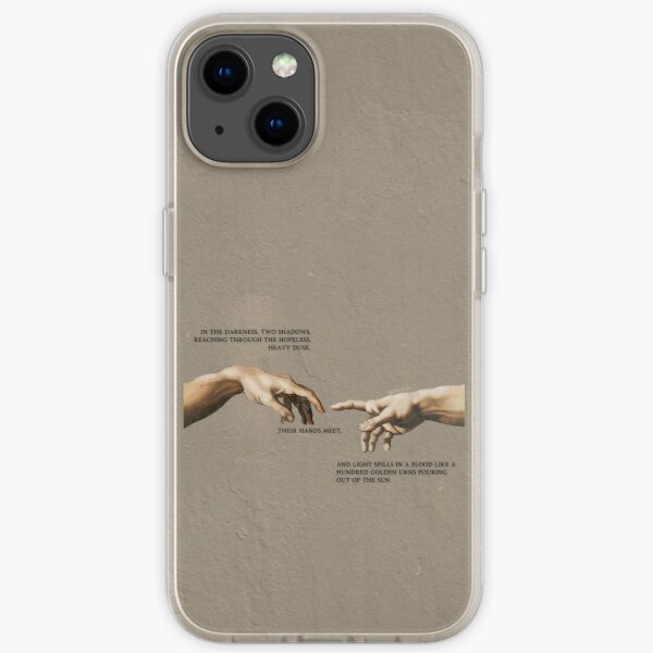 in the darkness, two shadows, reaching through the hopeless, heavy dusk.  iPhone Soft Case