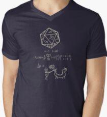 Camiseta de cuello en V La ciencia de los 20 dados de lado.