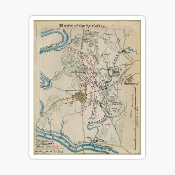 Vintage Map of Antietam Battlefield (1865)  Sticker