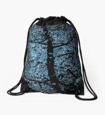 black tree on blue light Drawstring Bag