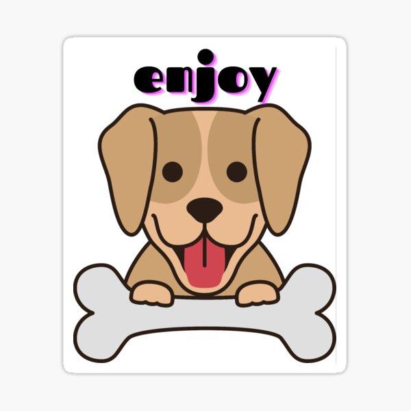 funny dog with bone Sticker