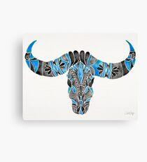 Water Buffalo Skull – Black & Blue Canvas Print