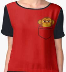 Pocket monkey is highly suspicious Women's Chiffon Top
