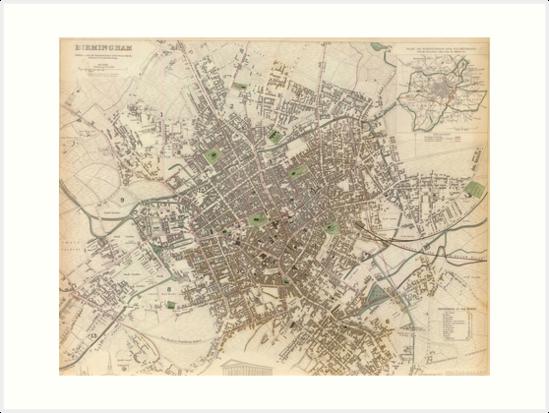 Map Of England Vintage.Vintage Map Of Birmingham England 1839 Art Prints By Bravuramedia