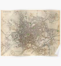 Vintage Map of Birmingham England (1839) Poster