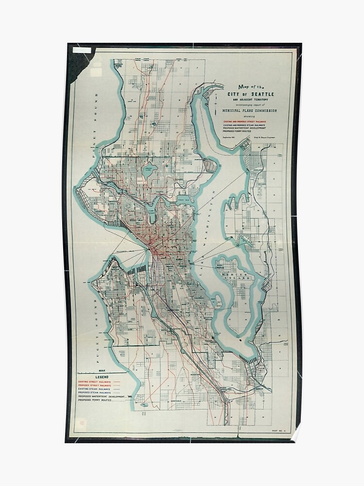 Vintage Map of Seattle Washington (1911) | Poster