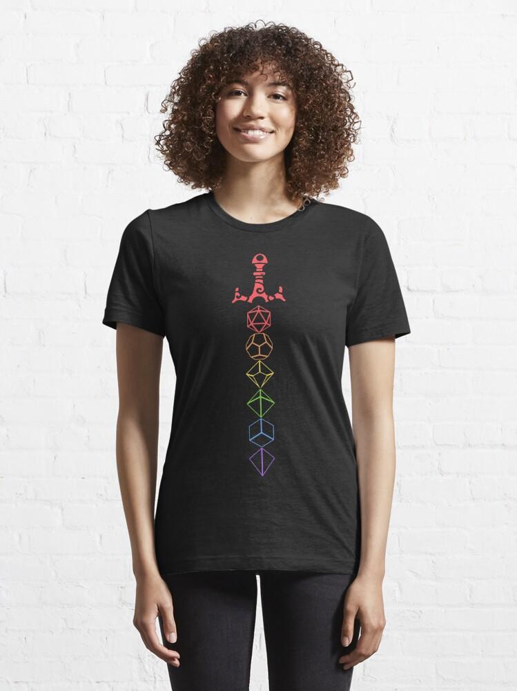 Alternate view of Rainbow Dice Sword Tabletop RPG Gaming Essential T-Shirt