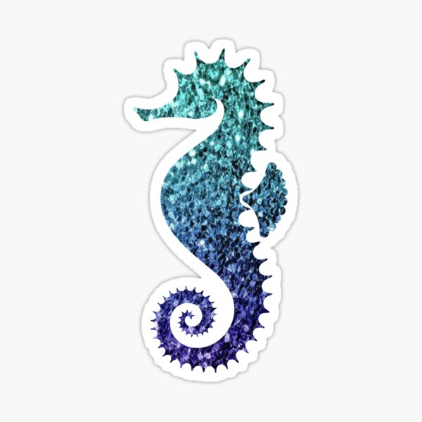 Teal and Blue Ombre Glitter Seahorse Sticker