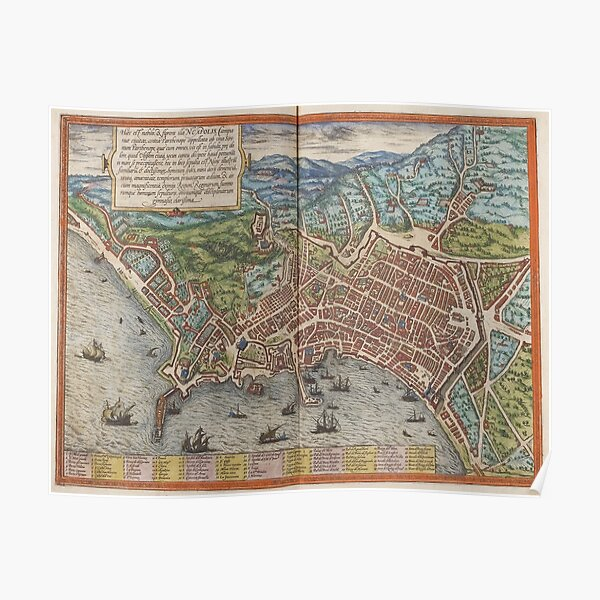 Vintage Map of Naples Italy (1572) Poster